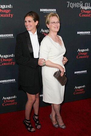 Джулия Робертс и Мерил Стрип на премьере фильма «Август»