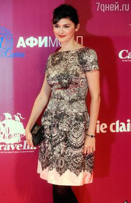 Французская актриса Одри Тоту перед премьерой фильма «Нежность»