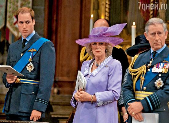 Уильям с отцом принцем Чарльзом и его супругой Камиллой в Вестминстерском аббатстве, где 29 апреля 2011 года пройдет венчание Уильяма с Кейт