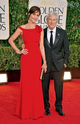 Ричард Гир с бывшей женой Кэри Лоуэлл. Беверли-Хиллз, 2012 г.