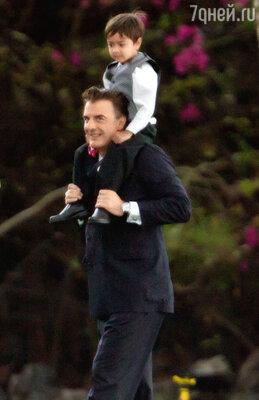 Актер с сыном Орионом Кристофером