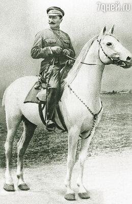 Семен Михайлович верхом на своем трофее — коне Цилиндре. На нем собирался въехать в побежденную Москву Деникин