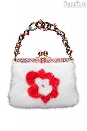 Меховая сумочка с цветочным узором от Prada