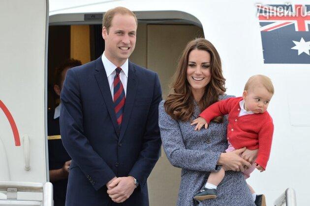 Принц Уильям  и Кейт Миддлтон с сыном, принцем Джорджем