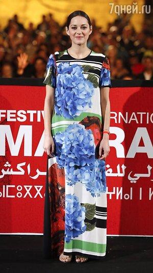 Марион Котийяр в платье от Preen на показе фильма «Враги государства» в рамках Международного кинофестиваля в Марракаше 2013