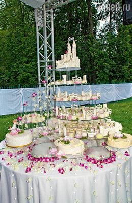 Авторский торт весом 30 килограммов и стоимостью полмиллиона рублей — подарок свидетелей. Эта композиция символизирует путь новобрачных к семейному счастью — сказочному замку. Все детали торта, кроме лепестков живых орхидей и ниток в «жемчужных» бусах, съедобны