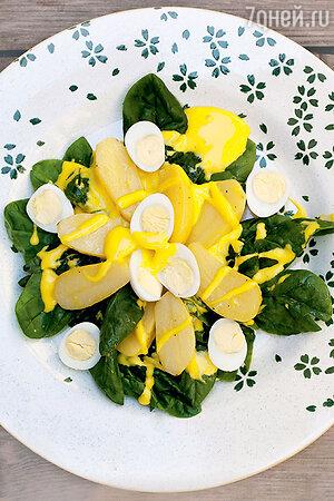Салат с молодой картошкой и перепелиными яйцами