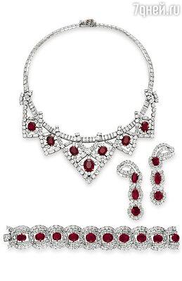 Колье, серьги и браслет  с бриллиантами и рубинами — подарок Майка Тодда Элизабет Тейлор