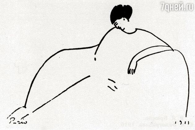 Рисунок Амедео Модильяни.. — портрет Анны Ахматовой