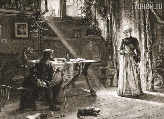 С огромным трудом Альбрехту удалось уговорить Агнес позировать ему. («Дюрер рисует свою жену». Работа кисти Вильгельма Линденшмидта)