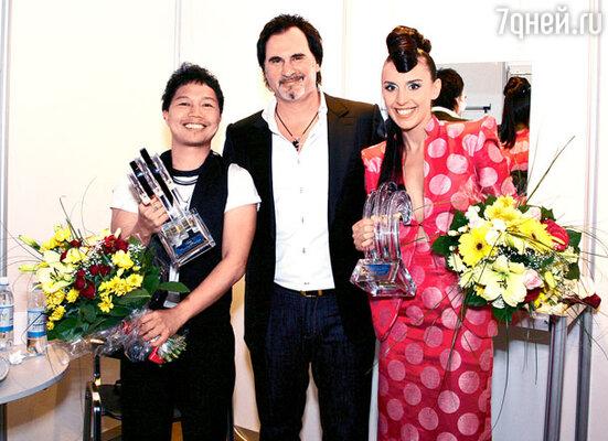 Валерий Меладзе с победителями конкурса Сэнди Сондоро и Джамалой