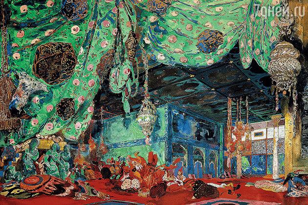 Фото репродукции эскиза декорации к балету «Шехерезада» работы Л. Бакста