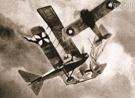 Нестеров таранит вражеский самолет. Фото репродукции рисунка пилота Арцеулова