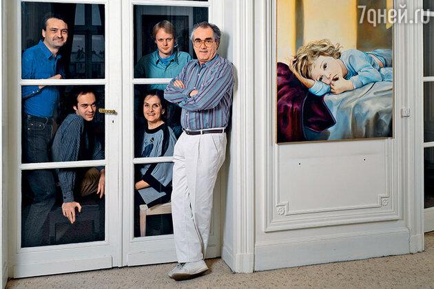 Мишель Легран  с сыновьями Эрве и Бенжамином, сестрой и братом
