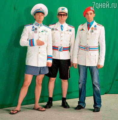 Алексей Рыжов, Алексей Серов и Николай Тимофеев на съемках клипа «Нано-Техно»