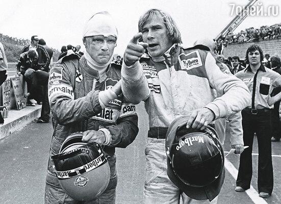 Английский автогонщик Джеймс Хант (справа) после окончания карьеры, как и Ники Лауда, стал бизнесменом