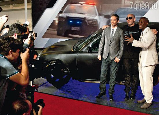 На премьере «Форсажа 5» в Рио-де-Жанейро с Полом Уокером и Тайрисом Гибсоном. Апрель 2011 г.
