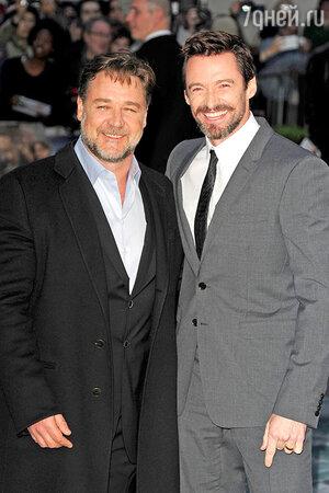 Рассел Кроу и Хью Джекман на премьере фильма «Ной» в Лондоне