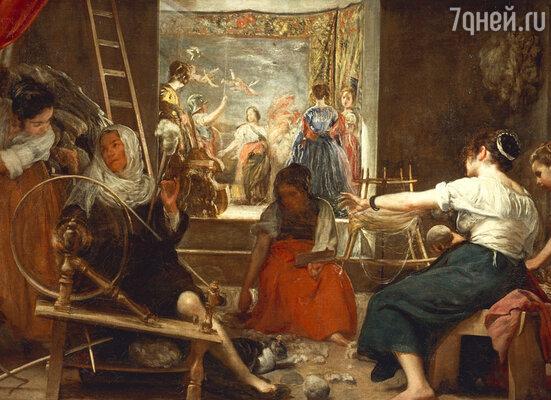 Слева на знаменитом полотне «Пряхи» Веласкес изобразил и свою Хуану в образе почтенной доньи, чья голова покрыта шалью