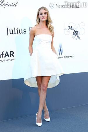 Рози Хантингтон-Уайтли в наряде от Christian Dior на вечере AmfAR в 2013 году