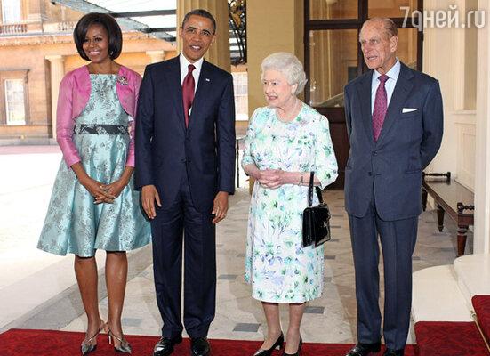 Президента США и его супругу принимают королева Елизавета и герцог Эдинбургский Филипп