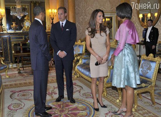 Президент США Барак Обама, принц Уильям, герцогиня Кембриджская Кейт, Мишель Обама