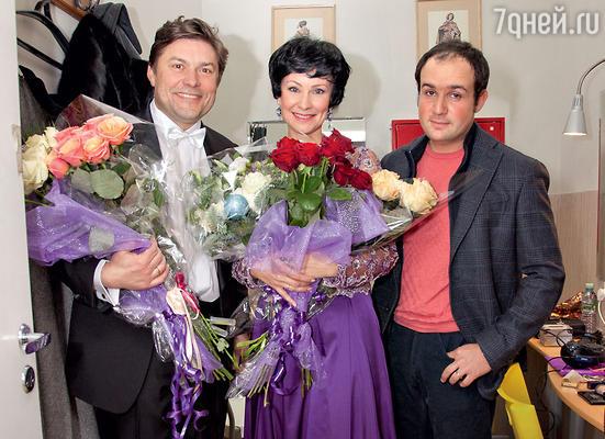 Нонна Гришаева с Сергеем Белоголовцевым и мужем Александром Нестеровым