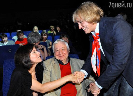 Олег Табаков с супругой Мариной Зудиной и Сергей Безруков