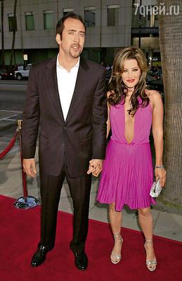 Николас Кейдж с бывшей женой Лизой Мари Пресли. 2001 г.