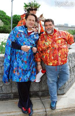 Олег Меньшиков с женой Анастасией и Михаилом Куснировичем