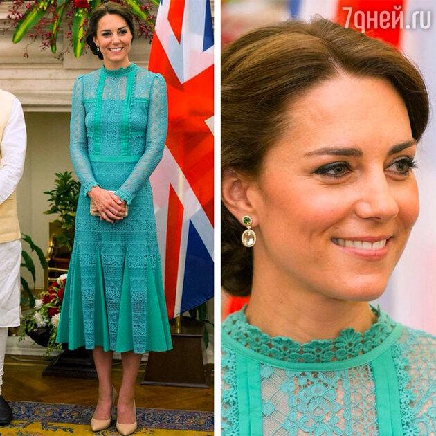 Кейт Миддлтон на встрече с премьер-министром Индии в платье от Alice Temperley