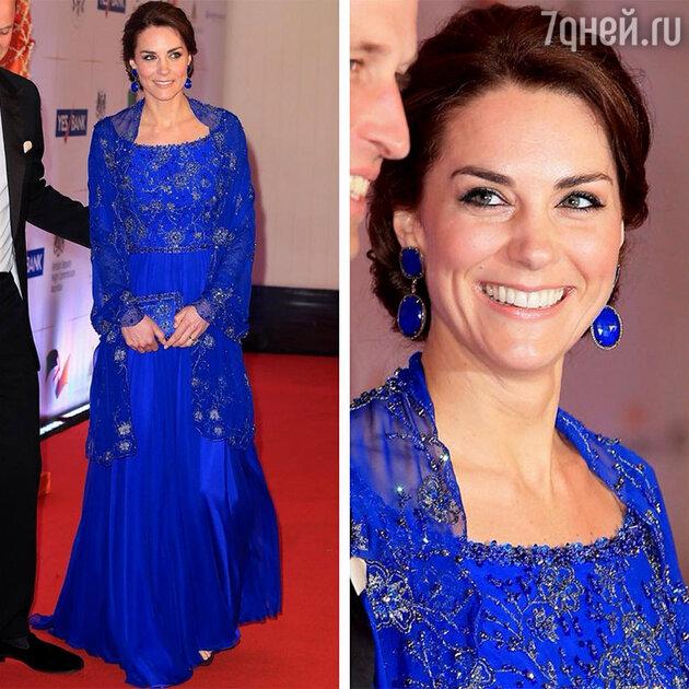 Кейт Миддлтон в платье от Jenny Packham на приеме в Мумбаи