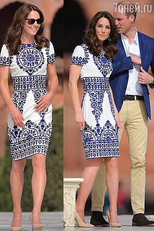 Кейт Миддлтон в платье от Naeem Khan с супругом посещаю Тадж Махал