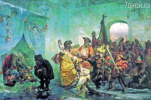 Фото репродукции картины «Ледяной дом» работы В. Якоби, 1878 г. / Государственный Русский музей.