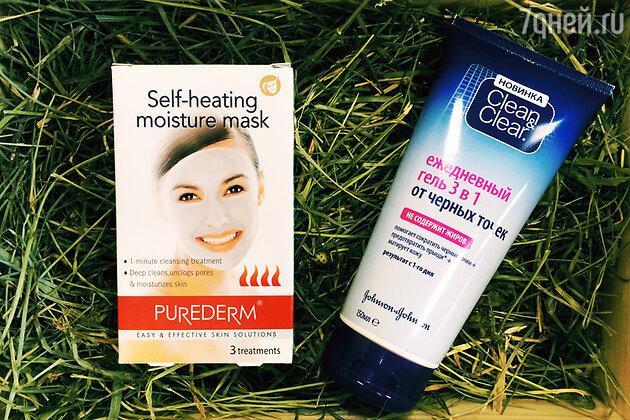 Самонагревающаяся маска от Purederm и ежедневный гель от черных точек Clean & clear