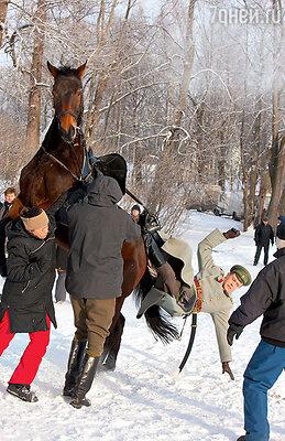 Впервые сев на лошадь, Никита Ефремов не удержался в седле. Посчастью, обошлось без травм