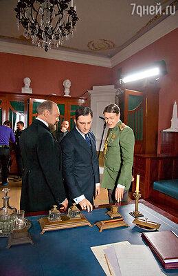 Заговорщики Пуришкевич (Виталий Кищенко), Юсупов (Владимир Кошевой) и великий князь Дмитрий (Никита Ефремов)