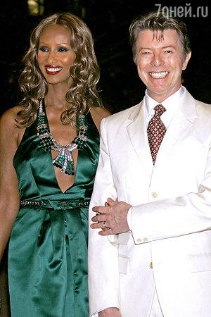 Дэвид Боуи с женой Иман