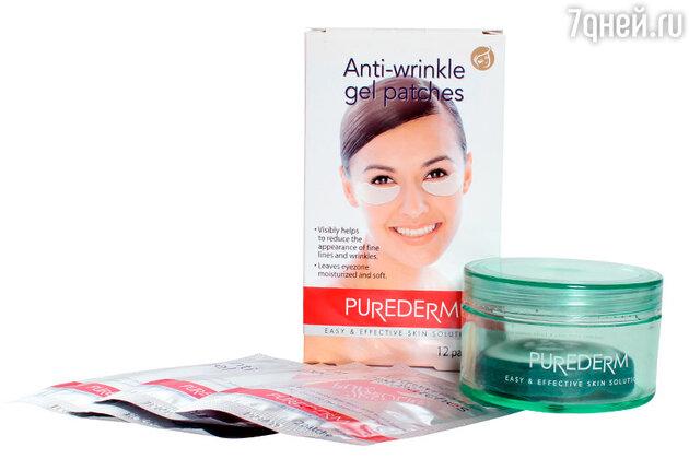 Гелевые подушечки против морщин под глазами, Purederm; Оживляющие подушечки для глаз с огуречным экстрактом, Purederm