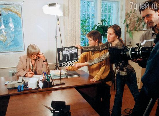 Светлана Крючкова на съемках киножурнала «Ералаш». 2003 г.