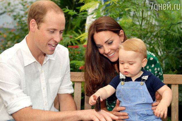 Принц Джордж с родителями Кейт Миддлтон и принцом Уильямом