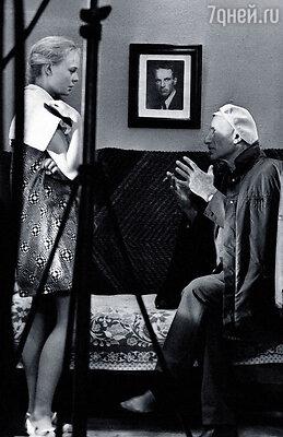 Наталия Белохвостикова с Сергеем Герасимовым на съемках фильма «У озера»