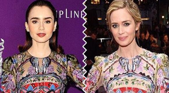 Битва нарядов: Лили Коллинз и Эмили Блант в Alexander McQueen