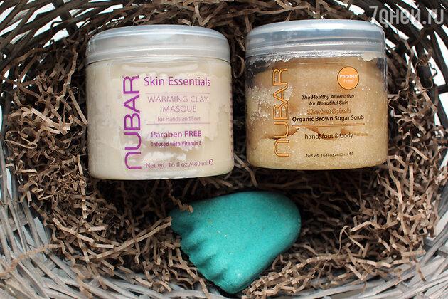 Термальная маска с глиной Warming Clay Masque от Nubar, скраб для рук, ног и тела Nubar Organic brown sugar scrub и скраб для ног «Счастливая пятка» от Lush