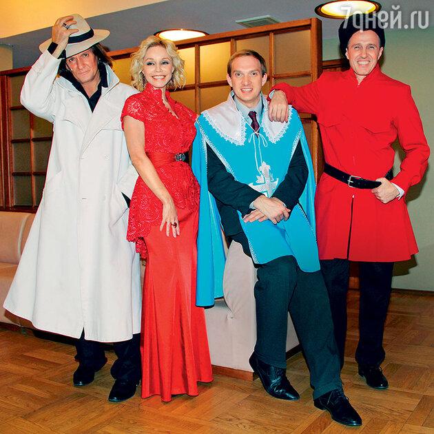 Миледи (Марина Зудина) и мушкетеры (Игорь Миркурбанов, Андрей Бурковский и Игорь Верник)