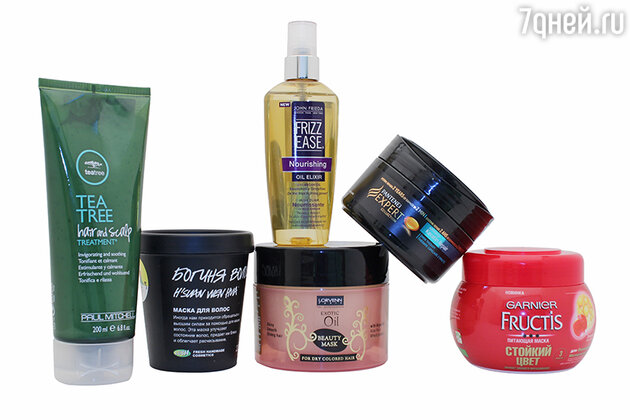 Пилинг-уход для волос и кожи головы Tea Tree Hair & Scalp Treatment от Paul Mitchell, маска «Богиня волос» от LUSH, маска для интенсивного ухода волос «Exotic Oil» от Lorvenn Paris, Frizz Ease Nourishing Oil Elixir от John Frieda, восстанавливающая маска для волос Pantene Pro-V Expert Advanced Keratin Repair, питающая маска «Стойкий цвет» от Garnier Fructis
