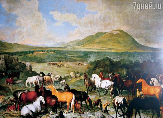 На этой картине шотландского художника XVII—XVIII веков Иоганна Георга Гамильтона изображена ферма в Липице в те времена, когда лошади еще не были все поголовно белыми