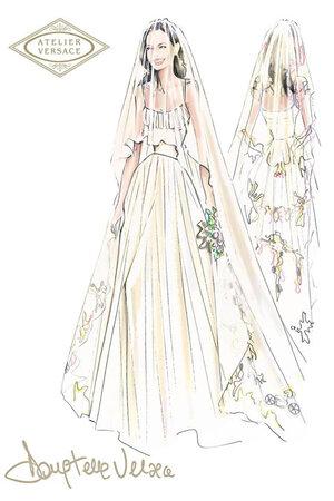 Эскиз свадебного платья Анджелины Джоли от Atelier Versace