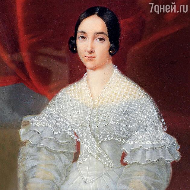Фото репродукции портрета баронессы Екатерины Дантес де Геккерн работы Жана-Батиста Сабатье. 1838 г.