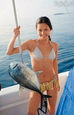 Катя оказалась заправским рыболовом